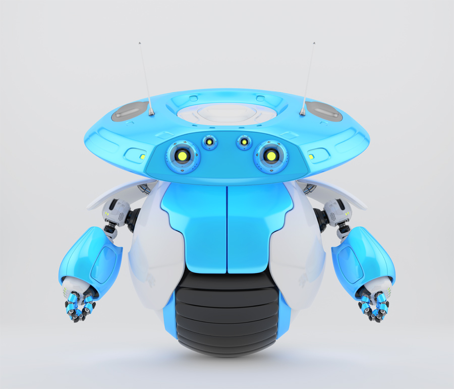 Futuristic roller robotic toy on one big wheel and two funny antennaes. 3d render