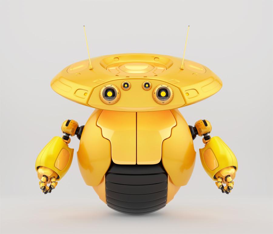 Bright orange roller drone on one big wheel. 3d render