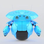 Bright blue roller robot on one big wheel. 3d render
