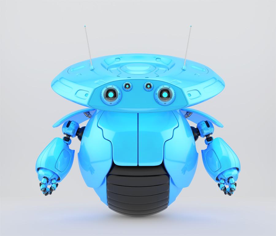 Bright blue roller robot on one big wheel. 3d render