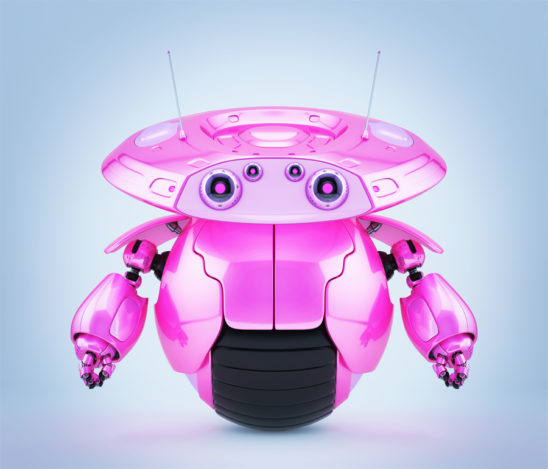 Bright pink roller robot on one big wheel. 3d render