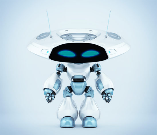 Ufo robotic creature with flat big head and mysterious antenna, 3d render