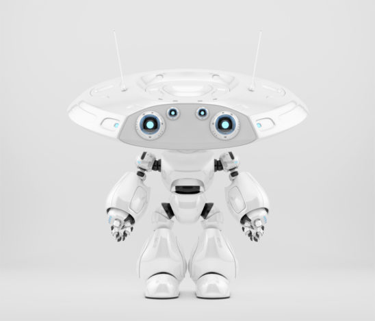 Smart robot ufo with big flat head and several eyes-cameras