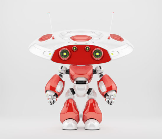 Red athletic robot ufo with two big and two little eyes cameras