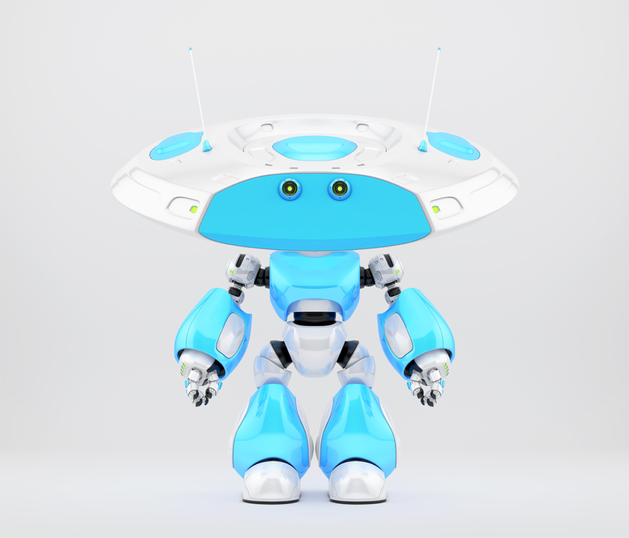 Funny robot ufo with two little eyes in blue-white colors
