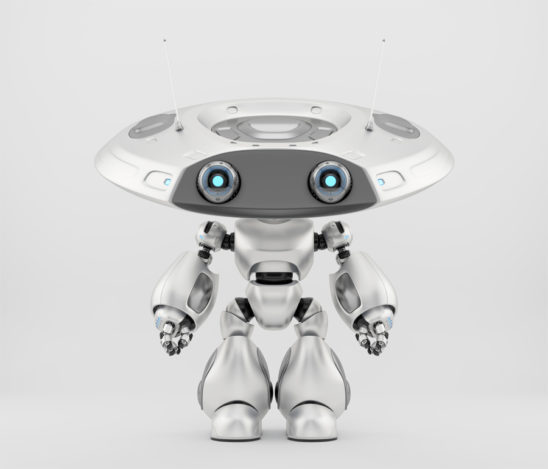 Ufo robot toy in silver