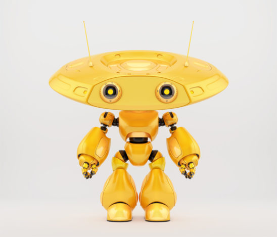 Bright yellow robotic ufo toy