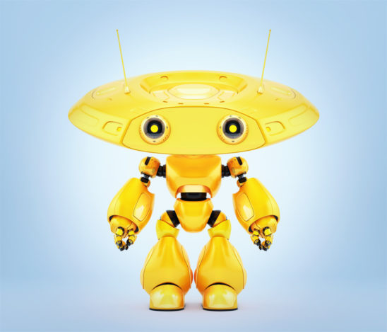 Bright yellow robotic ufo toy. 3d render
