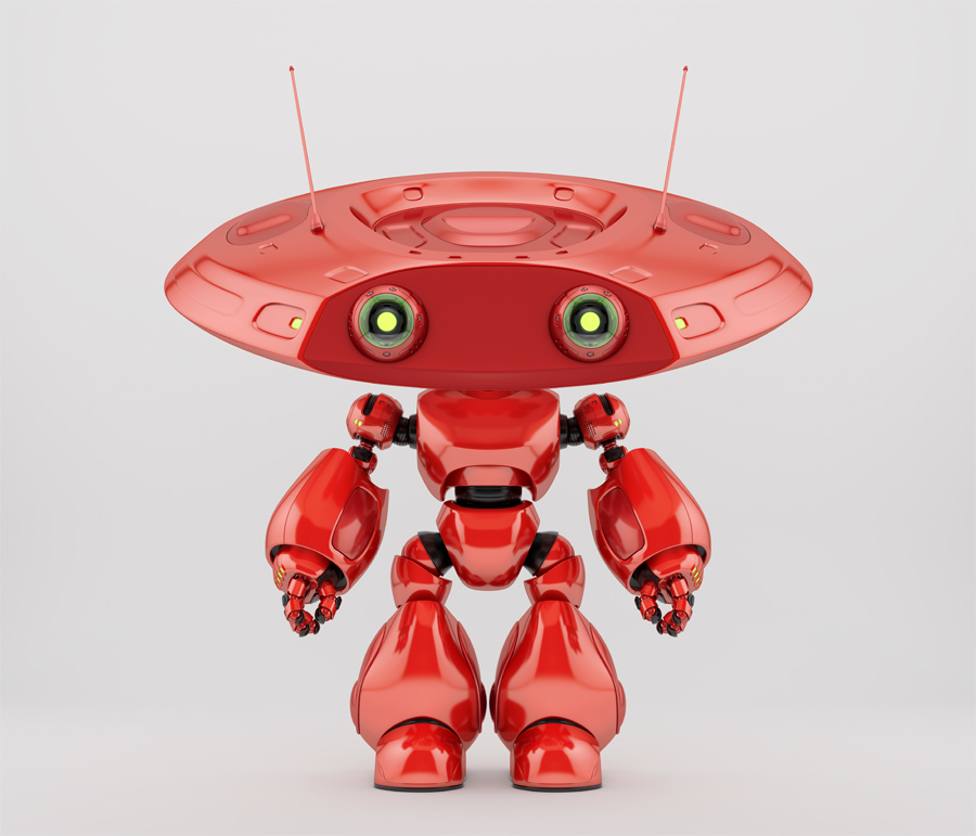 Bright red robotic ufo toy. 3d render