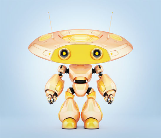 Unique robot ufo in beautiful chameleon yellow color. 3d render