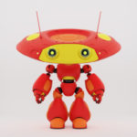 Cartoonish robotic ufo toy in red with yellow elements and funny antenna