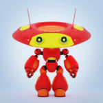 Cartoonish robotic ufo toy in red with yellow elements and funny antenna in front 3d render