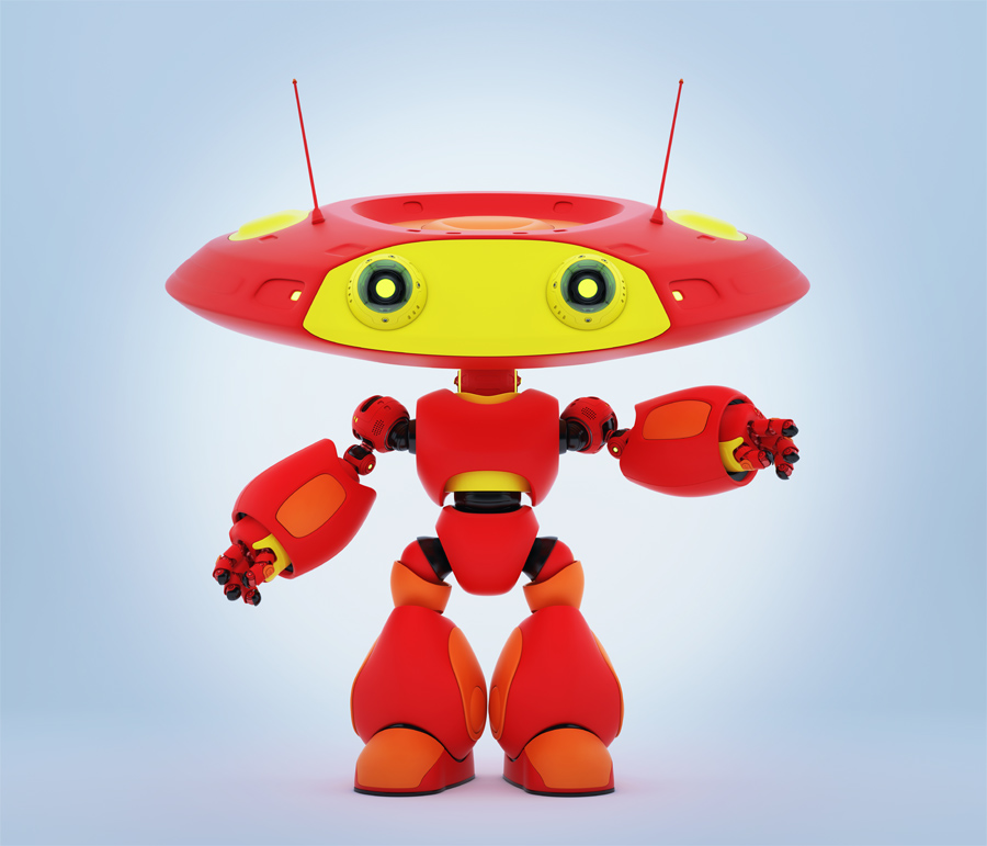 Cartoonish robotic ufo toy in red with yellow elements and funny antenna pointing, showing something. 3d render