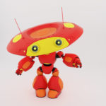 Lovely robotic toy in matte red with yellow colors gesturing