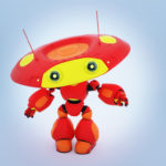 Lovely robotic toy in matte red with yellow colors gesturing. Upper view 3d render