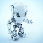 Bbot robotic character in white, upper view 3d render