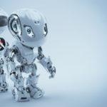 Two robotic bbot robots back to back. 3d render