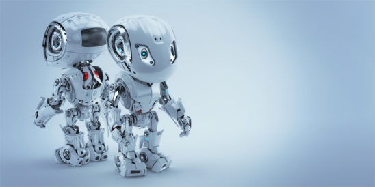 Two robotic bbot robots back to back. 3d render