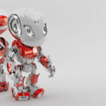 Two robotic bbot robots back to back in grey & red colors. 3d render