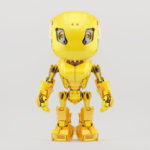 Bbot robot character in bright yellow color, front view 3d render