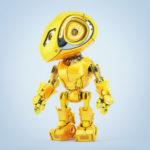 Robotic bbot in juicy yellow color, side 3d render