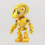 Robotic bbot in juicy yellow color, side 3d render