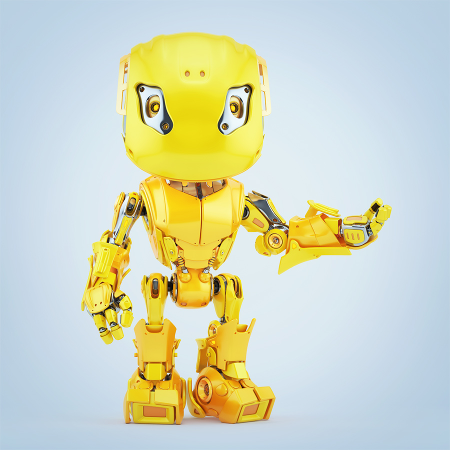 Gesturing yellow bbot robot