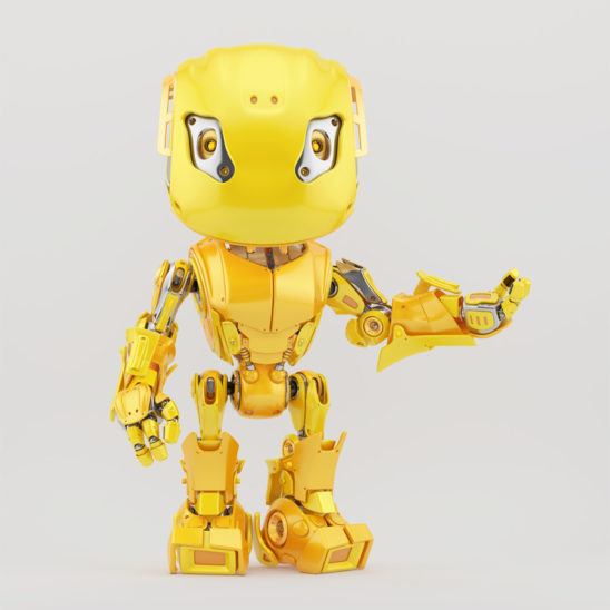 Gesturing yellow bbot robot, 3d render