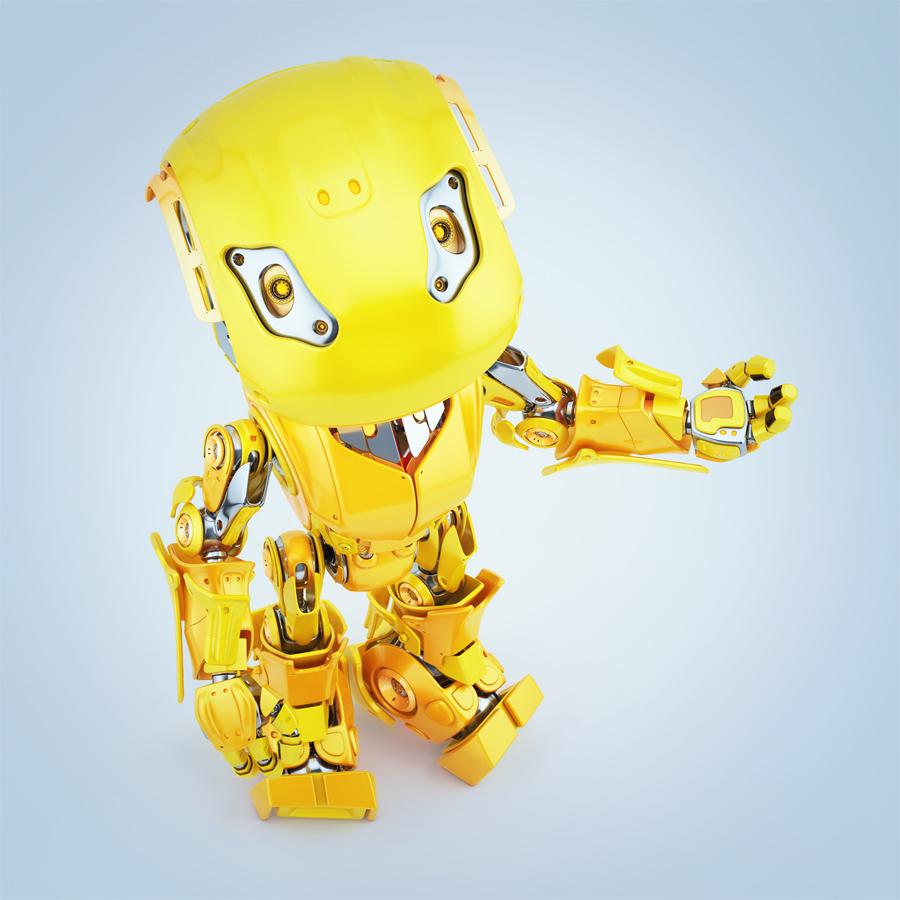 Gesturing yellow bbot robot, upper view 3d render