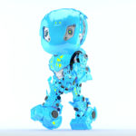 Walking bright blue bbot robot