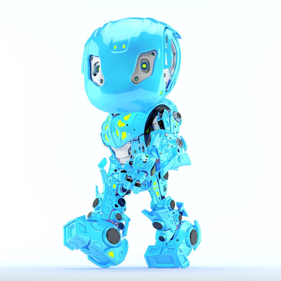 Walking bright blue bbot robot