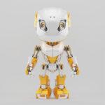 Stylish robot bbot in white & yellow, 3d render