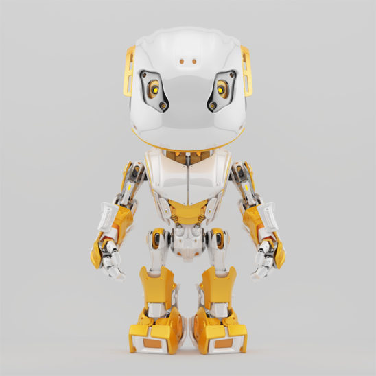 Stylish robot bbot in white & yellow, 3d render