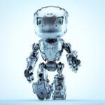 Steel robot bbot walking in matte grey color, front 3d render