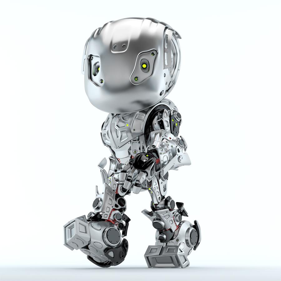 Steel robot bbot walking in matte grey color, side 3d render