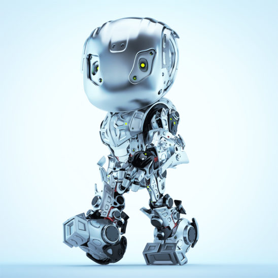 Steel robot bbot walking in matte grey color, side 3d render