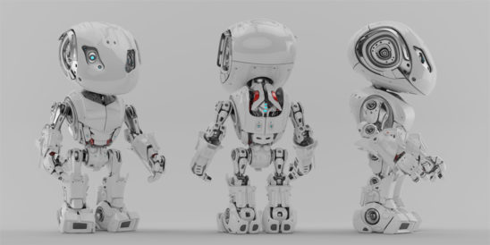 Three poses of bbot robot, back, front & side renders