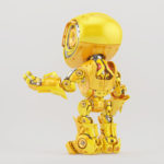 Gesturing yellow bbot robot backwards, 3d render