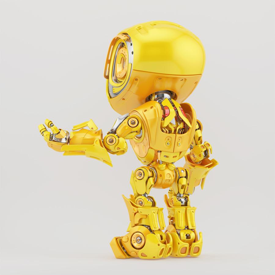 Gesturing yellow bbot robot backwards, 3d render