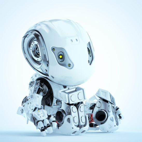 Lovely sitting robot bbot in white, 3d render