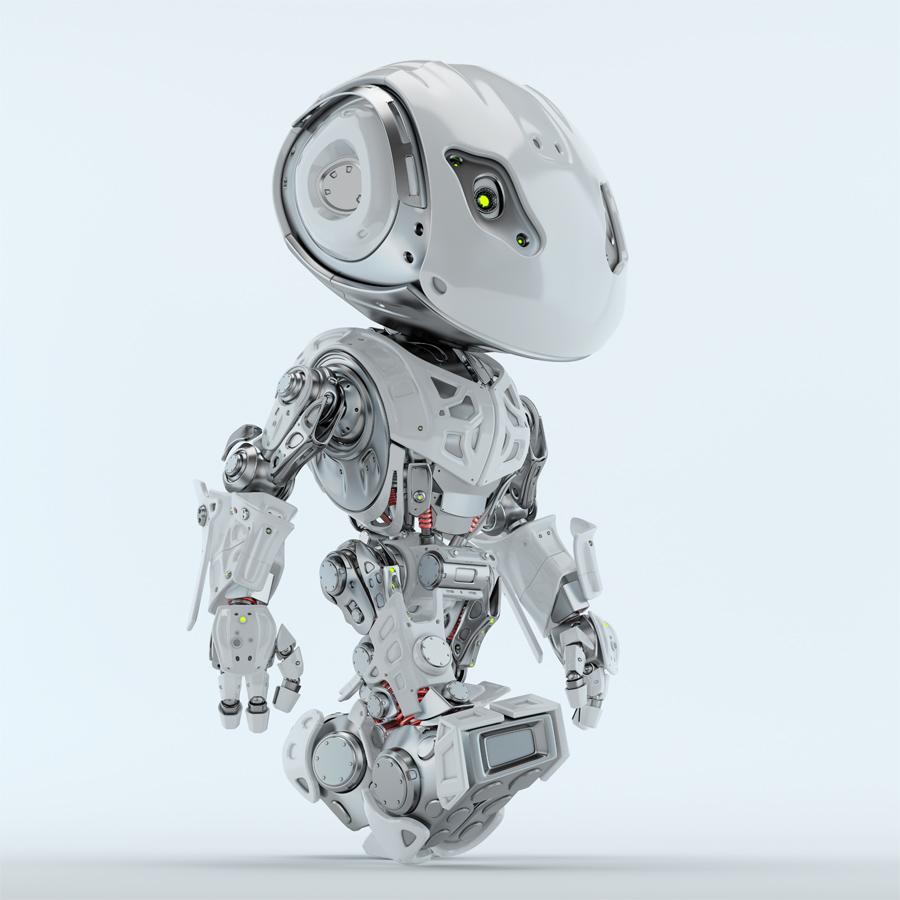 Walking bbot cute robot 3d render