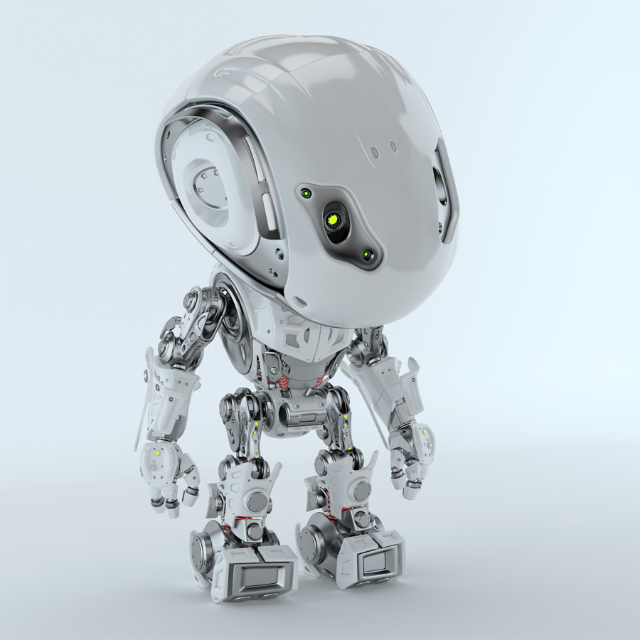 Futuristic Bbot robot looking down 3d render