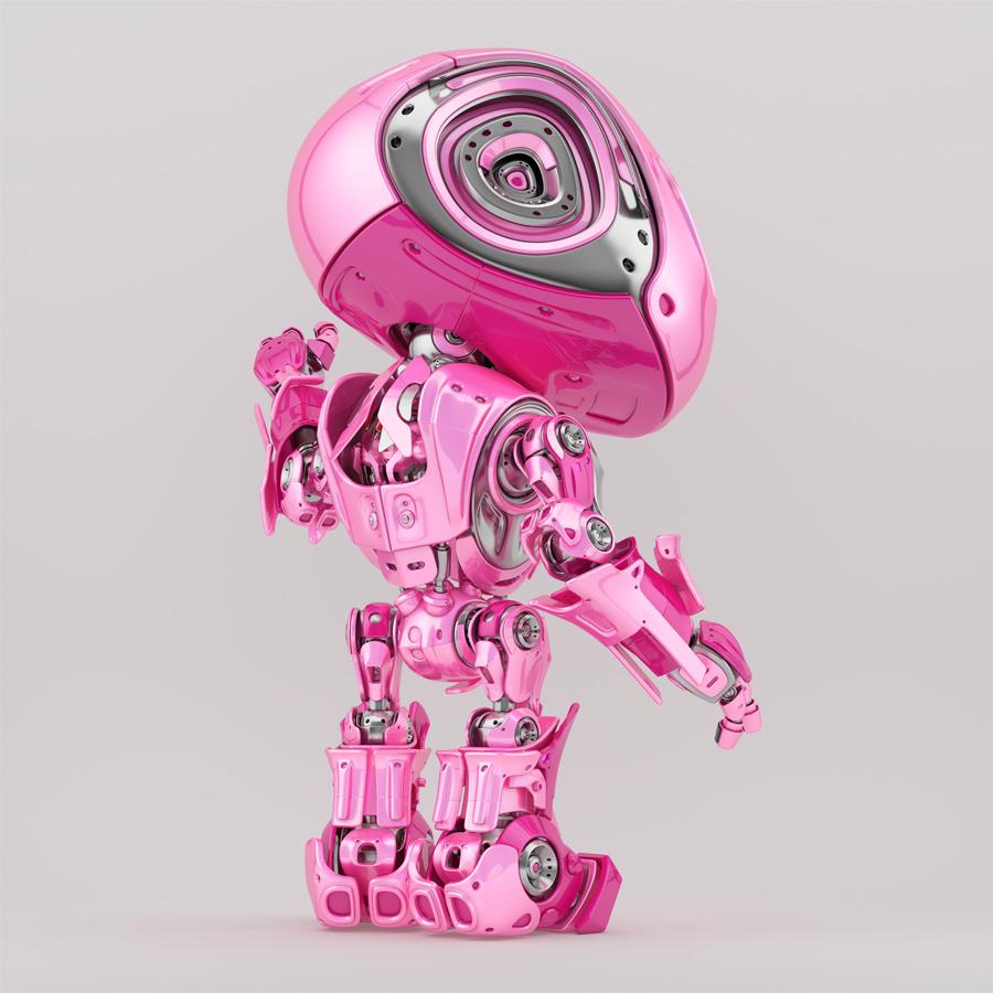 Bright pink bbot robotic toy backwards