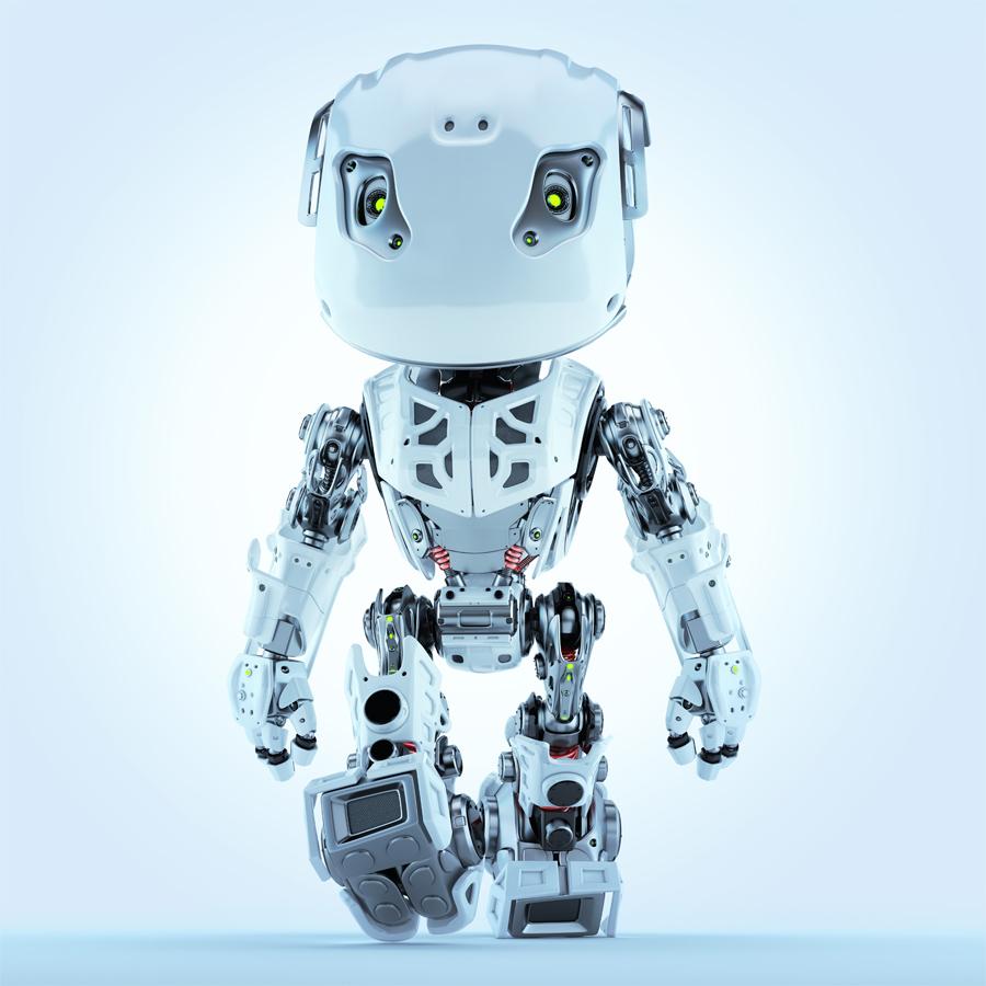 Walking bbot cute robot in front render