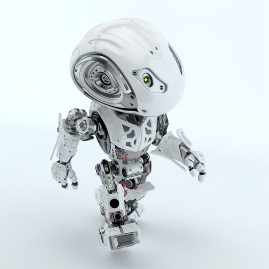 Walking bbot cute robot in top view render