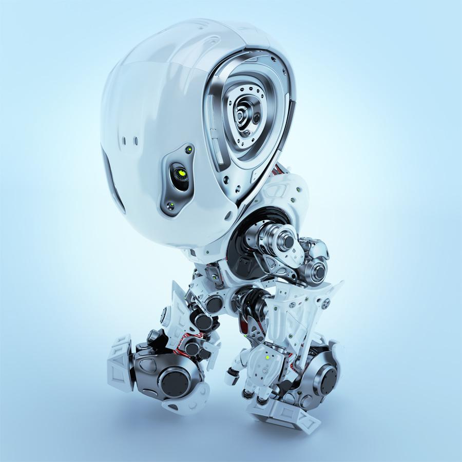 Walking bbot cute robot in top side render