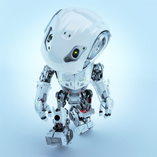Walking bbot cute robot in front render