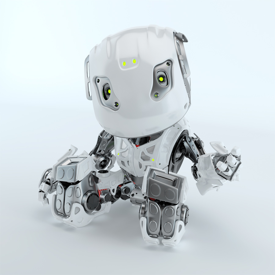 Lovely sitting and gesturing robot bbot in white, 3d render