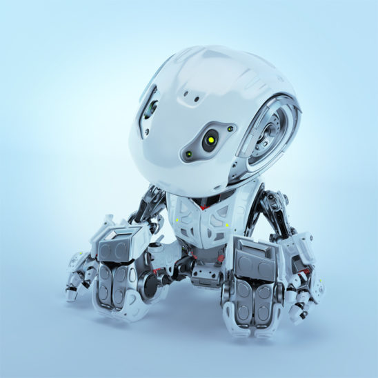 Lovely sitting and resting robot bbot in white, 3d render