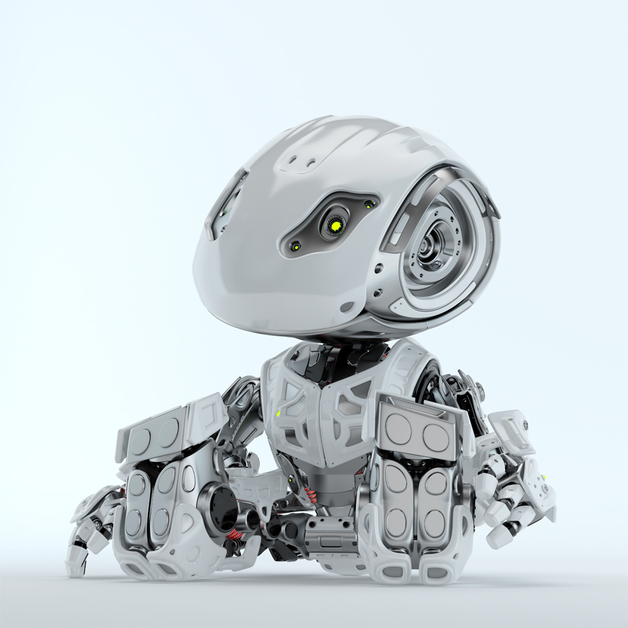 Lovely sitting and looking up robot bbot in white, 3d render